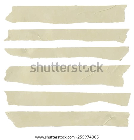 Set of horizontal and different size sticky tape, adhesive pieces - stock vector