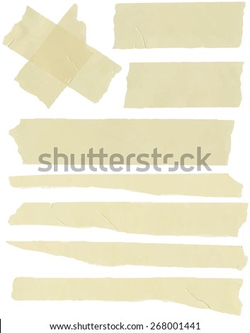 Set of horizontal and different size sticky tape,adhesive pieces - stock vector
