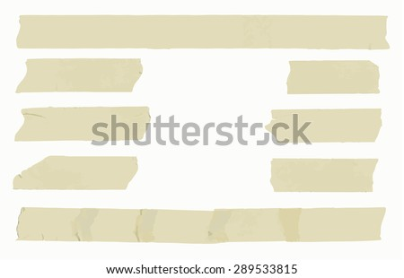 Set of horizontal and different size sticky type,adhesive pieces with space for text - stock vector