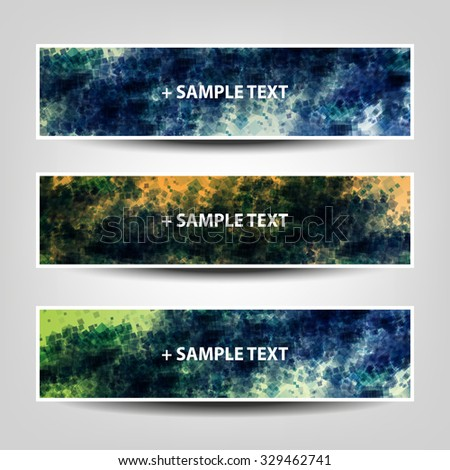 Set of Horizontal Banner / Cover Background Designs / Ad Banner Templates - Colors: Blue, Yellow, Green, Orange, White