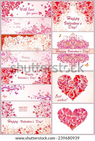 Set of horizontal banner for Valentines day - stock vector