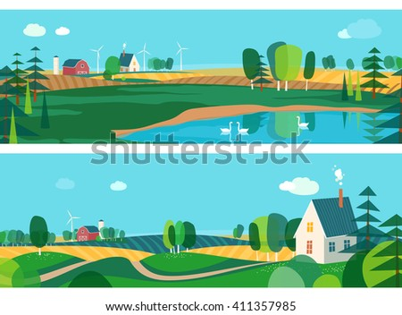 Set of horizontal banners, agro-tourism, agricultural development - stock vector