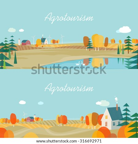 Set of horizontal banners, agro-tourism, agricultural development. Autumn - stock vector