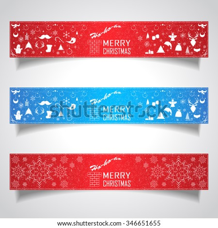Set of horizontal banners for Christmas and New Year with logotype. Vector illustration for decorate postcards and web-sites.  - stock vector
