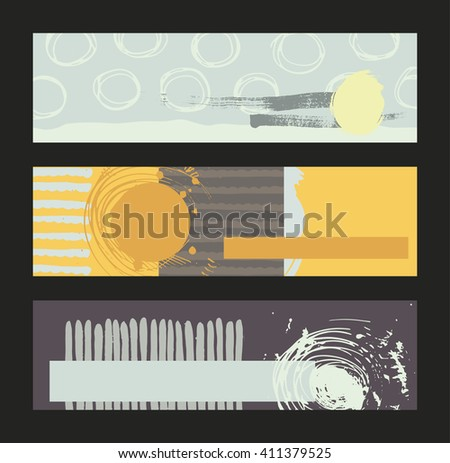 Set of horizontal banners, handdrawn, decorated with liquid ink brush stripes, strokes and spots. Isolated on background vector illustration, stylish, with imperfect parts in intricate bright colors - stock vector