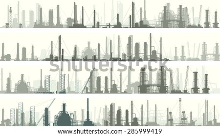 Set of horizontal banners: industrial part of city with factories, refineries and power plants. - stock vector