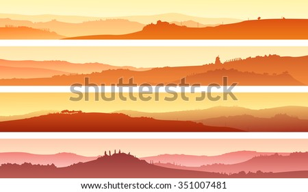 Set of horizontal banners of pastoral landscape of valley with manors at sunset. - stock vector