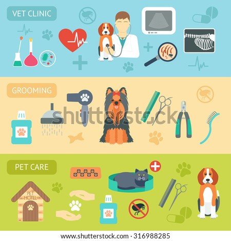Set of horizontal banners. Pet care. Vet clinic. Grooming. Flat design. Vector illustration - stock vector