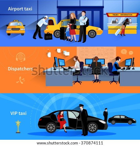Set of 3 horizontal banners presenting airport taxi dispatchers and vip taxi flat vector illustration - stock vector