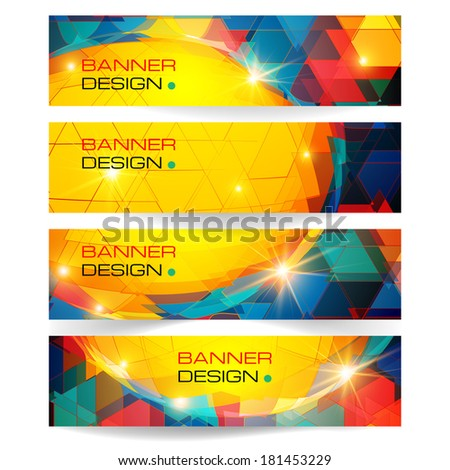 Set of horizontal banners.The illustration contains transparency and effects. EPS10 - stock vector