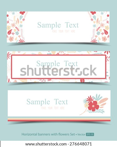 Set of horizontal banners with flowers - stock vector