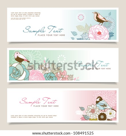 Set of horizontal banners with flowers and birds - stock vector