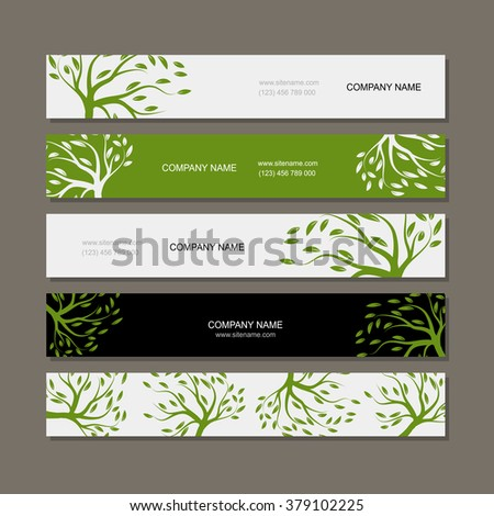 Set of horizontal banners with green tree - stock vector