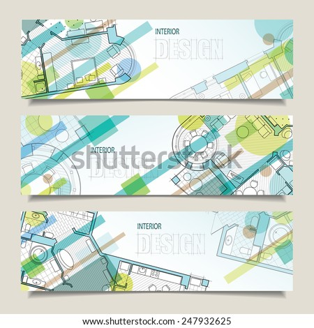 Set of horizontal banners with parts of detailed architectural plan and flat projection with furniture. Background for design of interiors. - stock vector