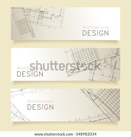 Set horizontal banners parts detailed blueprint stock vector set of horizontal banners with parts of detailed blueprint malvernweather Images