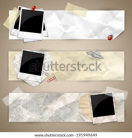 Set of horizontal banners with photo frames, fixed with tape, pins, paper clips  - stock vector