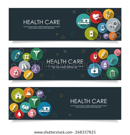 Set of horizontal  banners with vector Medical Icons in flat style with long shadows, isolated on dark background. Vector illustration for your design. - stock vector