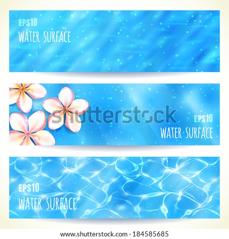 Set of Horizontal Banners with Water Surface. Vector illustration, eps10, editable. - stock vector