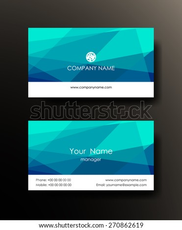 Set of horizontal blue elegant abstract mosaic business cards on dark background. Vector illustration.