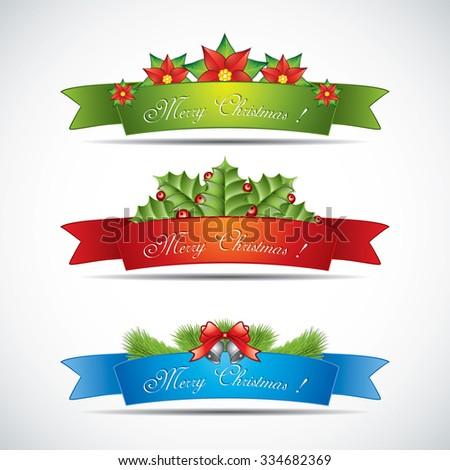 Set of horizontal Christmas banners.Vector - stock vector
