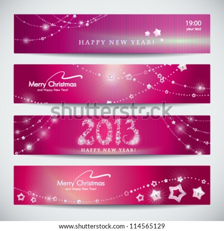 Set of horizontal Christmas, New Year banners. - stock vector
