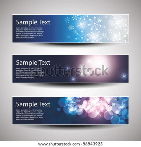 Set of horizontal Christmas, New Year banners