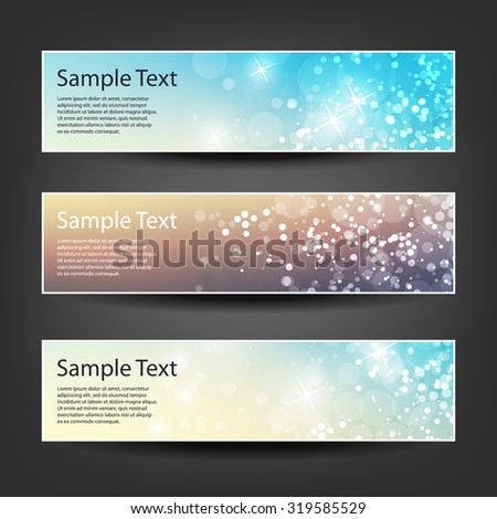 Set of Horizontal Christmas, New Year or Other Holidays Banner / Cover Background Designs - Colors: Brown, Blue, Orange