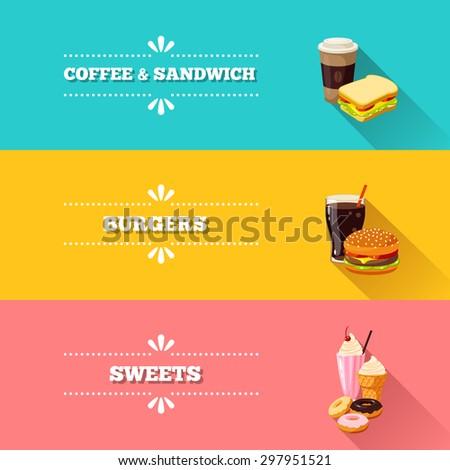 Set of 3 horizontal fastfood banners. Vector illustration, eps10. - stock vector