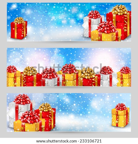 Set of horizontal festive winter banners with gift boxes - stock vector