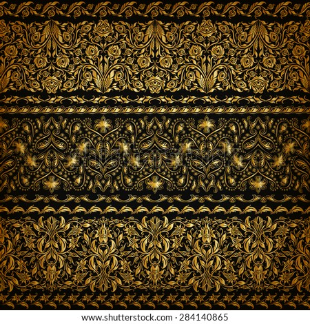 Set of horizontal golden lace pattern, decorative elements, borders for design. Seamless floral ornament. Page decoration. Vector illustration EPS 10. - stock vector