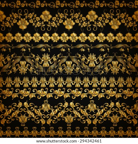 Set of horizontal golden lace pattern, decorative elements, borders for design. Seamless hand-drawn floral ornament on black background. Page, web site decoration. Vector illustration EPS 10. - stock vector