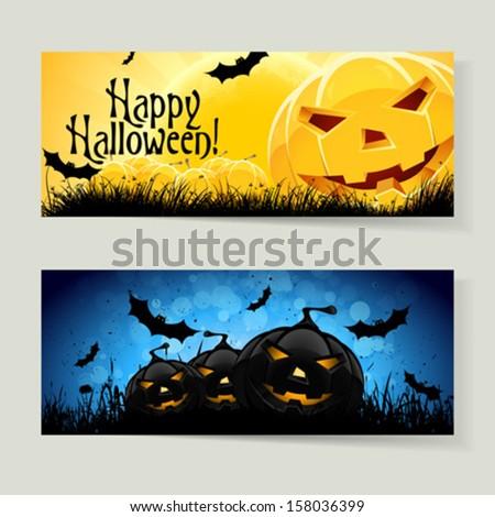 Set of Horizontal Halloween Banners - stock vector