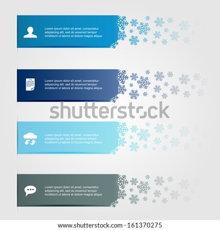 Set of horizontal lines with snowflakes, can be used for design of website, illustration. - stock vector