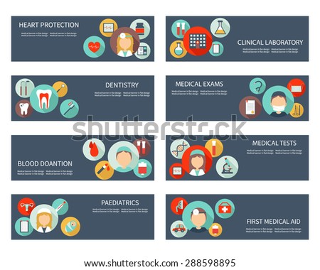 Set of horizontal medical banners with icons in flat design. Banners for medical tests, dentistry, blood donation, pediatrics and clinical laboratory. Vector file is easy to edit and ready for use. - stock vector