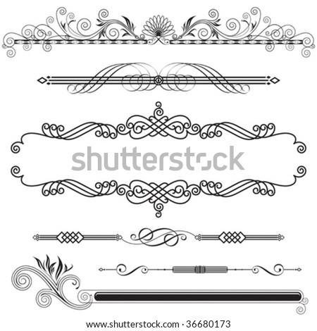 Set of Horizontal Ornamental design elements, vector illustration. - stock vector