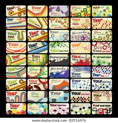 Set of 45 horizontal retro business cards