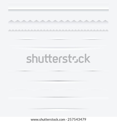 Set of horizontal web dividers design elements. Vector illustration - stock vector