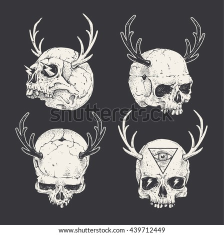 Set of horned skulls. Hand drawn skulls. Vector art.