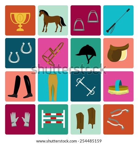 Set of horse equipment icons - stock vector
