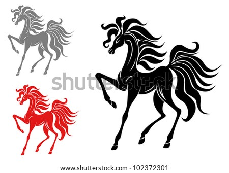 Set of horse mascots isolated on white background, such logo. Jpeg version also available in gallery - stock vector
