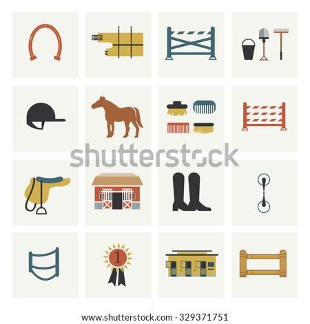 Set of horseback riding icons. - stock vector