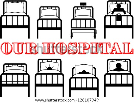 Set of hospital symbolic beds - stock vector