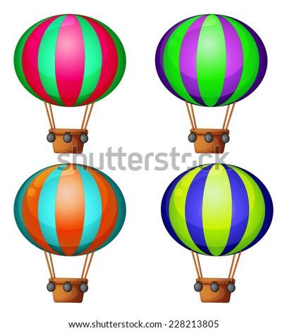 Set of 4 hot air balloons - stock vector