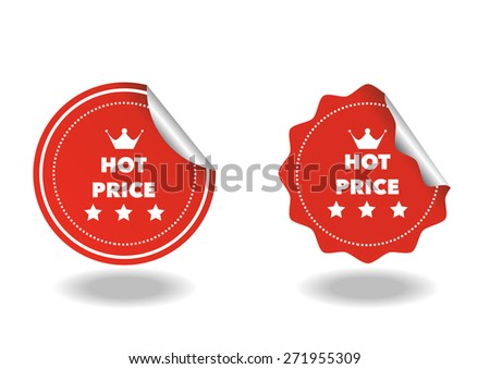 set of hot price red sticker on white background - stock vector