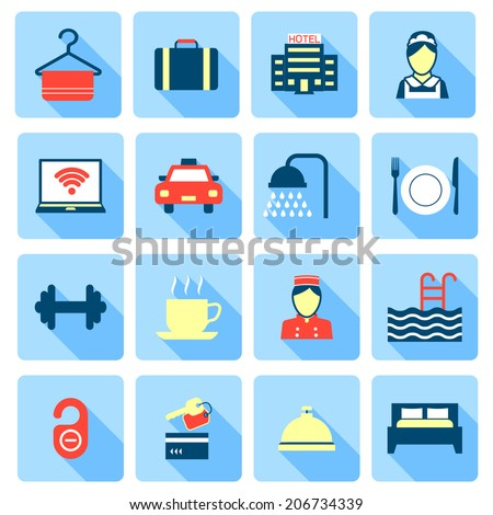 Set of hotel bed reception bath bed bell icons on colorful squares in flat color style vector illustration - stock vector