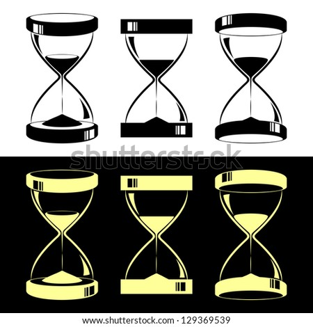 Set of hourglasses. Black hourglasses on a white background. Yellow hourglasses on a black background. - stock vector