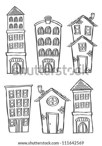 set of house and building in doodle style - stock vector
