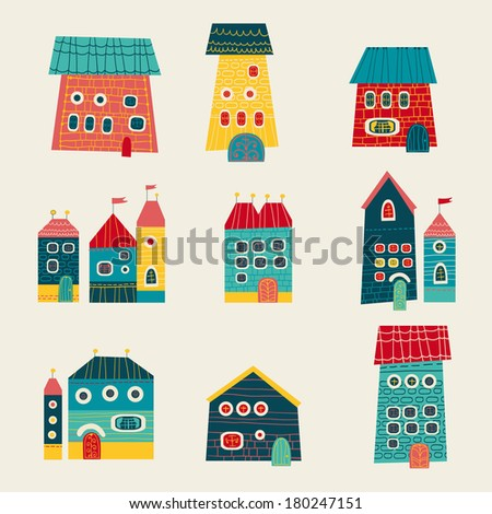 set of house and building in doodle style