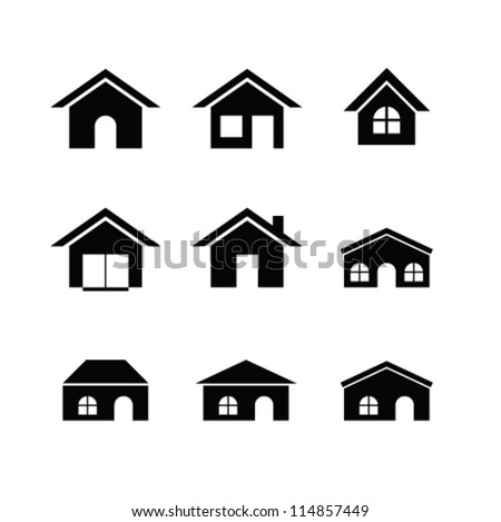 Set of 9 house icon variations - stock vector