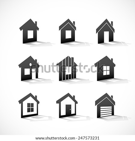 Set of house icons. - stock vector